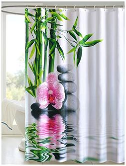 LanMeng Fabric Shower Curtain, Bamboo Stone Orchid, White Gr