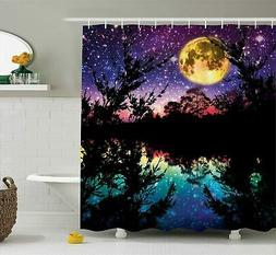 Ambesonne Fabric Shower Curtain Nature Artwork Decor, Lake a