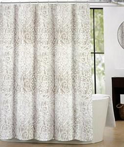 Tahari Fabric Shower Curtain Taupe Beige White Paisley Flora