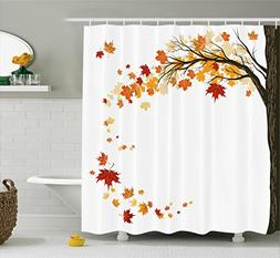 Fall Decorations Shower Curtain by Ambesonne, Leaf Group Mot