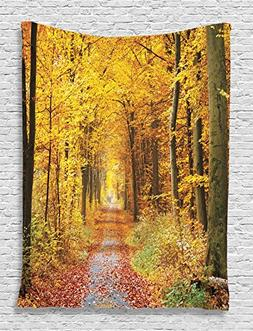 Fall Trees Tapestry Decor by Ambesonne, Foliage Leaves Seaso