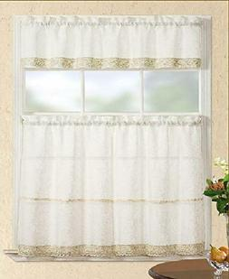 Fancy Collection 3Pc Beige Decoration Kitchen/Cafe Curtain T