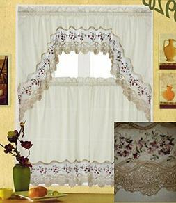 Fancy Collection 3pc White with Embroidery Floral Kitchen/ca