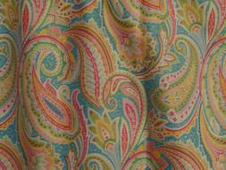 Fancy, Large Paisley Designs On Turquoise, Pink, Green, Hand