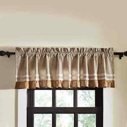 Farmhouse Kitchen Curtains VHC Kendra Stripe Valance Rod Poc