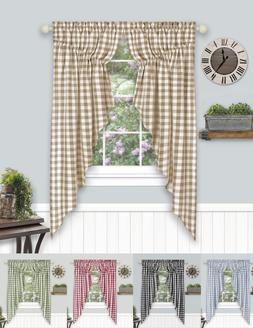 Farmhouse Plaid Gingham Check Swag Valance Curtain Panel Pai
