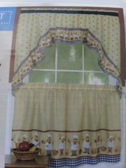Fat Chef Bistro Tiers & Swag Valance Kitchen Curtains Home D