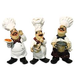 Fat Chef Kitchen Soft Hats Statue Figures Figurines Set of 3