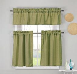 3 Piece Faux Cotton Kitchen Window Curtain Panel Set with 1