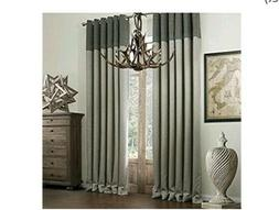 IYUEGO  Faux Linen Classic Room Darkening Grommet Curtain Ta