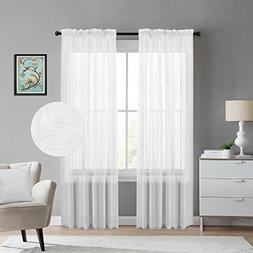 """White 2-Pack 52"""" inch x 96"""" inch Window Curtain Sheer Panels"""