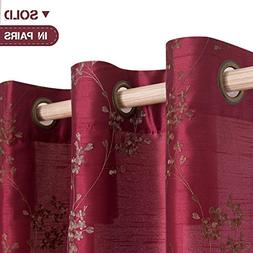 Faux Silk Floral Embroidered Grommet Top Curtains for Bedroo