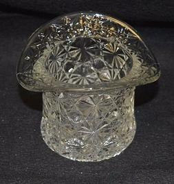 Fenton Clear Glass Daisy and Button Top Hat 3 in x 3 in x 2.