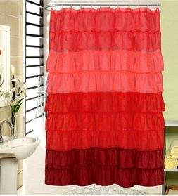 "Flamenco Tiered Fabric Shower Curtain 70"" X 72"""