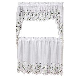 Lorraine Home Fashions Floral Holly and Berries Cutwork Embr