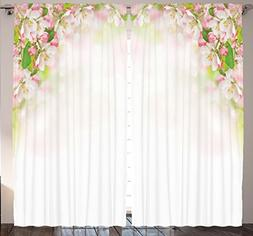 108 x 90 Inch Two Panels Spring Peach Blossoms Flowers Art I