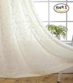 Miuco Floral Embroidered Semi Sheer Curtains Faux Linen Grom