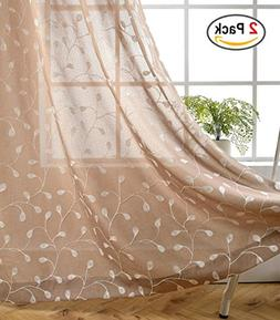 Miuco Floral Embroidered Semi Sheer Curtains Faux Linen Wide