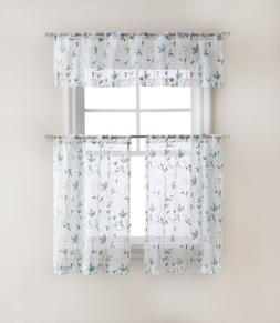 Floral Embroidered Sheer Kitchen Curtain Tier & Valance Set