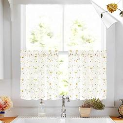 Floral Embroidered Sheer Tier Curtains for Kitchen, Rod Pock