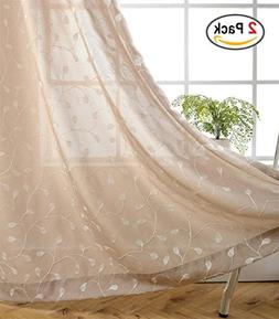 Miuco Floral Embroidery Semi Sheer Curtains Faux Linen Gromm
