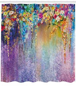 Floral Fabric Shower Curtain Blooming Flowers Print for Bath