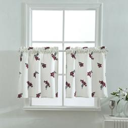 Floral Half Window Short Cafe Tier Curtains Panels Drapes fo