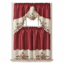 Floral Kitchen Cafe Curtain Set Window Treatment Set for Sma