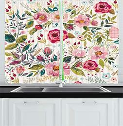 Ambesonne Floral Kitchen Curtains, Shabby Chic Flowers Roses