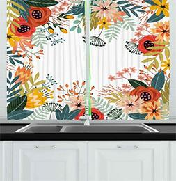 Ambesonne Floral Kitchen Curtains, Vintage Exotic Summer Flo