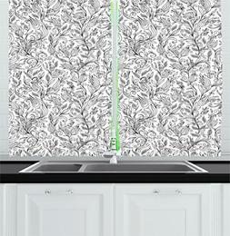 Floral Kitchen Curtains by Ambesonne, Flowers Swirls Ivy wit