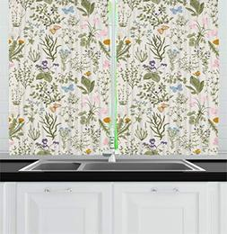 Ambesonne Floral Kitchen Curtains, Vintage Garden Plants wit