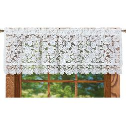 Floral Lace Cutout Window Valance with Rod Pocket Top - Home