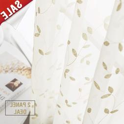 jinchan Floral Leaves Embroidered Voile Curtains Retro Embro