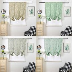 Floral Printed Tie Up Valance Blackout Curtain Rod Pocket fo