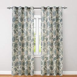 Floral Scroll Printed Linen Curtains, Grommet Top - Ikat Fla