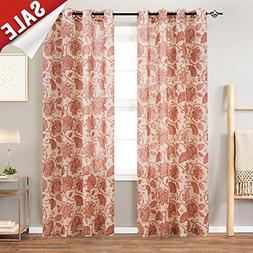 Floral Scroll Printed Linen Curtains,Grommet Top - Ikat Flax