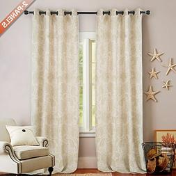 Floral Scroll Printed Linen Curtains - Ikat Flax Textured Me