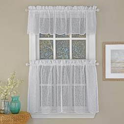 Floral Spray Semi Sheer Kitchen Window Curtain Tier Pair or