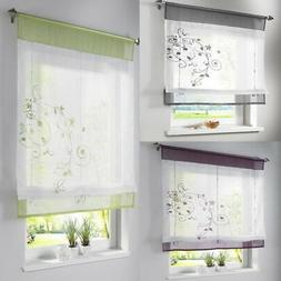 Floral Voile Sheer WIindow Dressing Curtain Kitchen Lifting