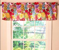 Floral Window Valance Topper Bold Colors Rod Pocket Bathroom