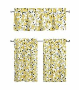 Floral Yellow Grey Kitchen Curtains: One  Valance and Two  T