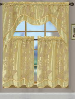 Florence 3-Piece Kitchen Curtain Set, Gold, Tiers 30x36, Val