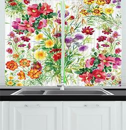 Ambesonne Flower Decor Kitchen Curtains, Floral Decor Garden