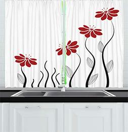Ambesonne Flower Decor Kitchen Curtains, Floral Petals with