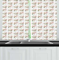 Flower Garden Kitchen Curtains 2 Panel Set Window Drapes 55""