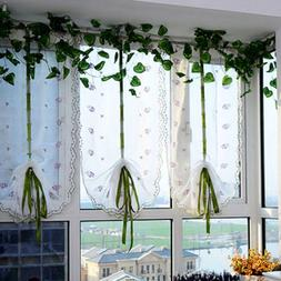Flower Roman Curtains Kitchen Balloon Shades Cafe Rustic She