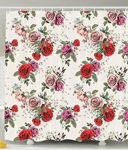 Ambesonne Flower Shower Curtain Decorations by, Spring Rose
