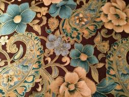 Flowers and Paisley Brown with Gold Window Curtain Valance C