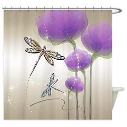 CafePress - Dragonflies And Purple Flowers - Decorative Fabr